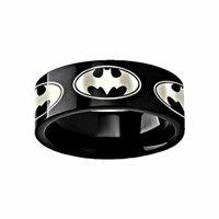 Thorsten Batman Dark Knight Super Hero Black Tungsten Engraved 8mm Band Ring by from Roy Rose Jewelry