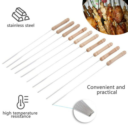 """10Pcs Outdoor Picnic BBQ Barbecue Skewer Roast Stick Stainless Steel Kebab Needle Reusable 12"""" Length - image 2 of 12"""
