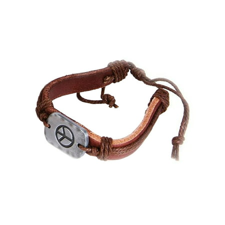 60's Hippie Metal Peace Sign Braided Leather Bracelet Costume -