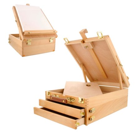 Ktaxon Portable Wood Table Desktop Easel Floor Sketchbox With 3 Drawer Storage Artist Painting Drawing