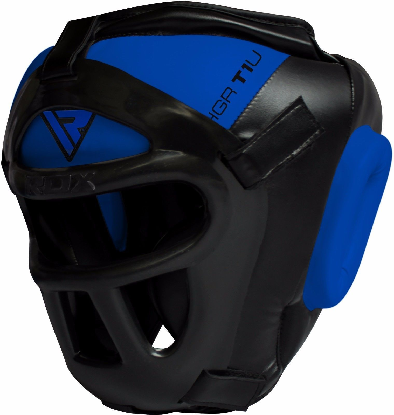 RDX Cowhide Leather Boxing Head Guard T1, Blue, Large