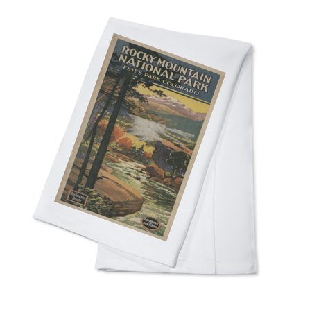 Estes Park, Colorado - Rocky Mt. National Park Brochure # 2 - Vintage Poster (100% Cotton Kitchen Towel)