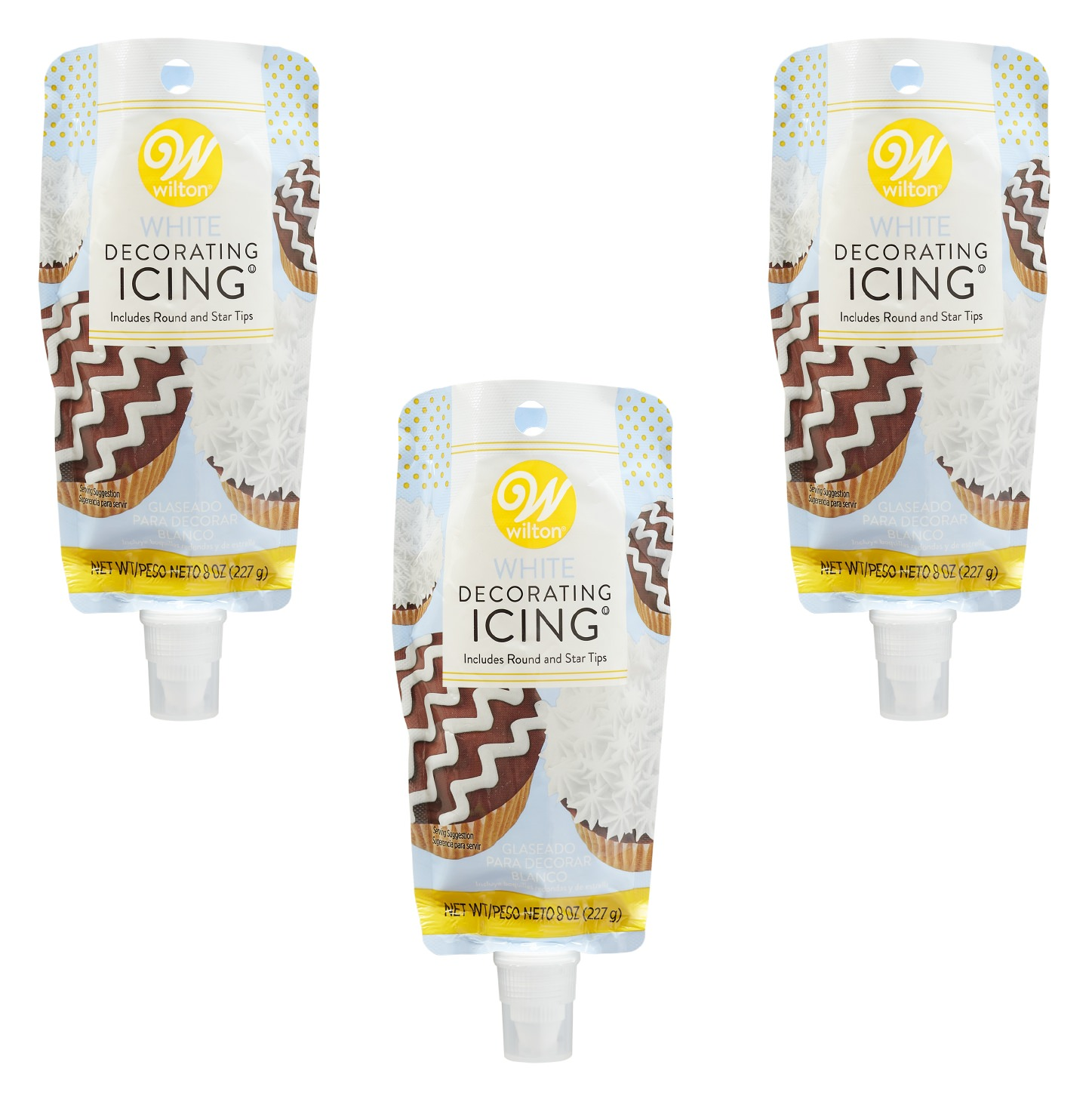 (3 Pack) Wilton White Icing Pouch with Tips, 8oz