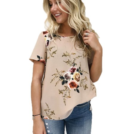 Women's Short Sleeve T-shirts Floral Printed T-shirts Women's Short Sleeve T-shirts Floral Printed T-shirts