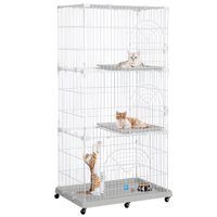 Topeakmart 3 Tier Rolling Metal Wire Pet Cage Lockable Cat Playpen Tower Pet Indoor Shelter White