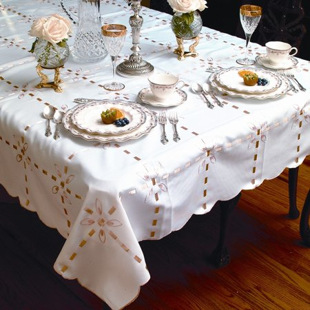 Ribbon Tablecloth (Crown With Ribbon Embroidered Tablecloths )
