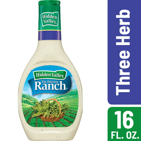 (2 Pack) Hidden Valley Three Herb Ranch Salad Dressing & Topping, Gluten Free - 16 Oz Bottle