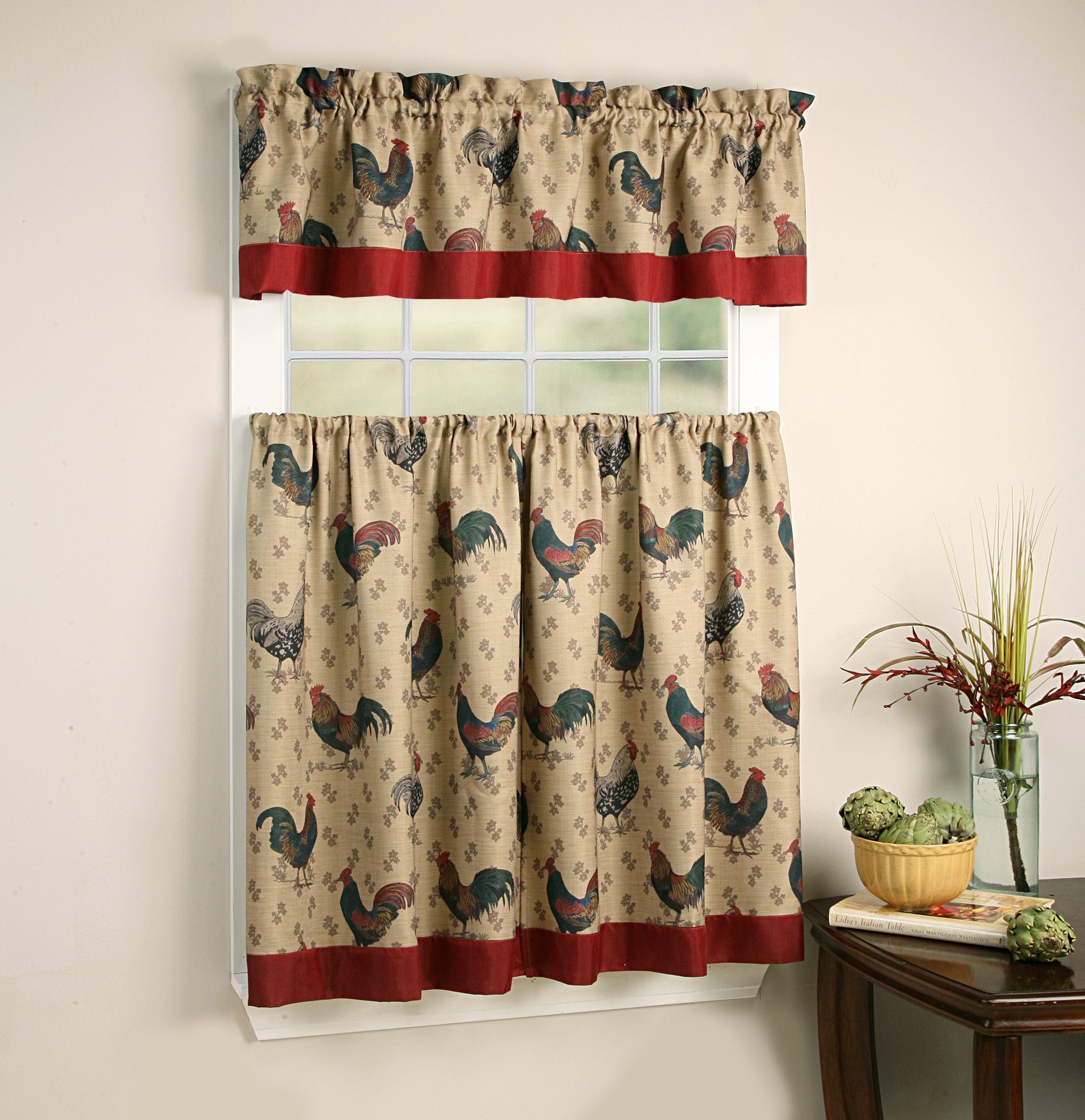 Regal Home Collections Rooster Pullet Tier & Valance Kitchen Curtain Set