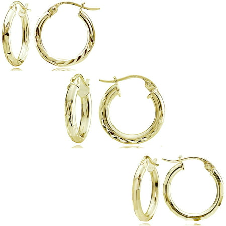 14kt Gold over Sterling Silver 15mm Mixed Round Hoop Earring Set