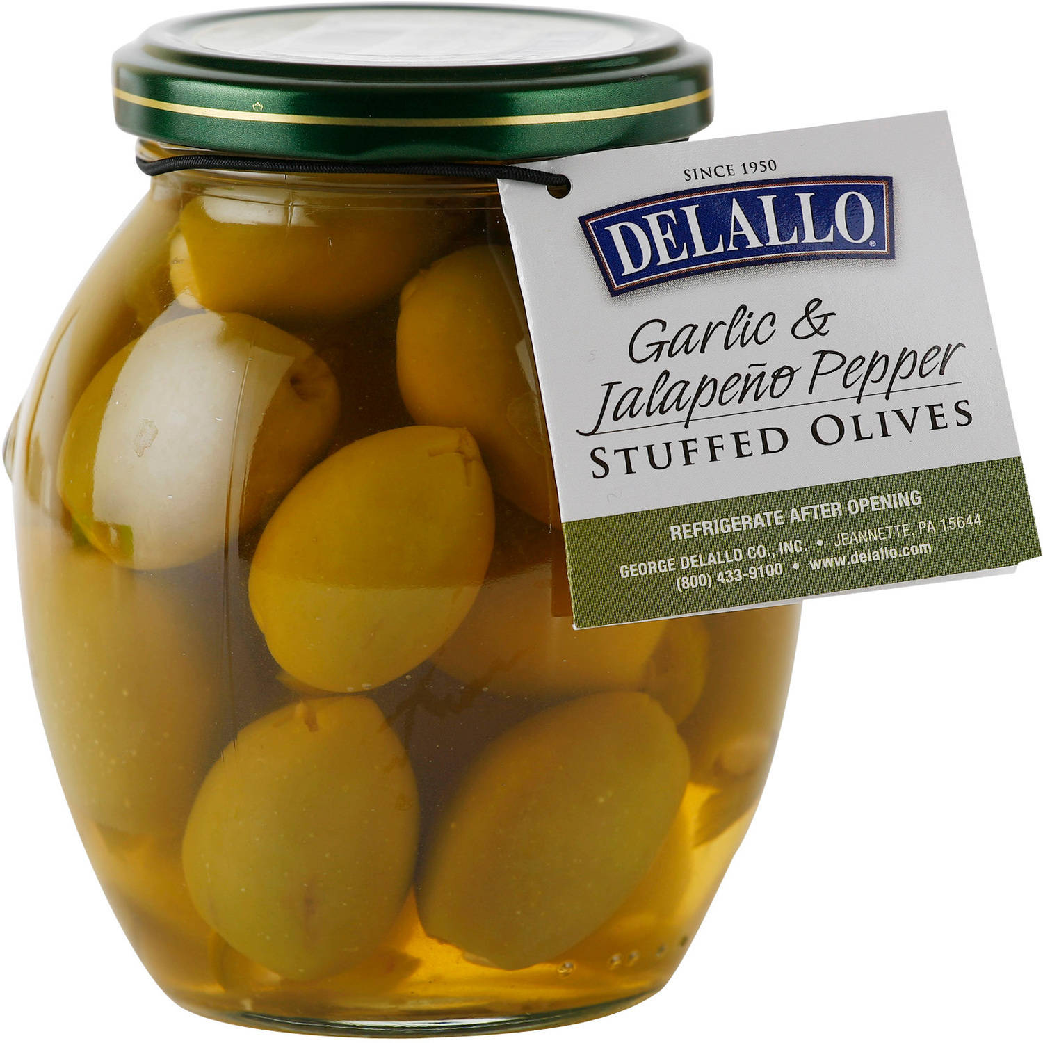 DeLallo Garlic & Jalapeno Pepper Stuffed Olives, 7 oz by GEORGE DELALLO CO. INC.