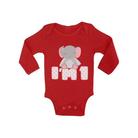 Awkward Styles Elephant Birthday Baby Bodysuit Long Sleeve Gifts For 1 Year Old First Shirt My 1st