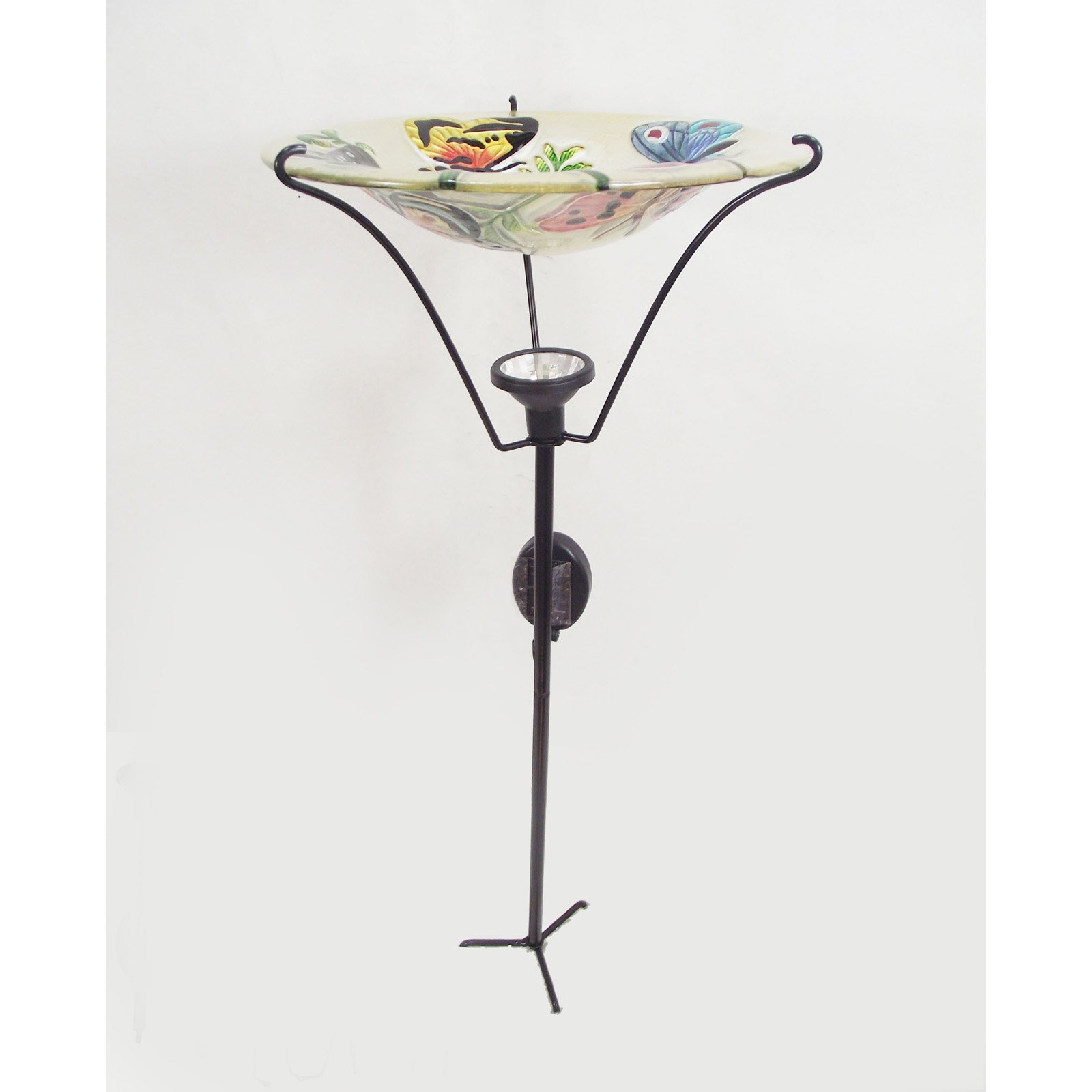 Continental Art Center Solar Butterfly Birdbath Garden Stake by Continental Art Center