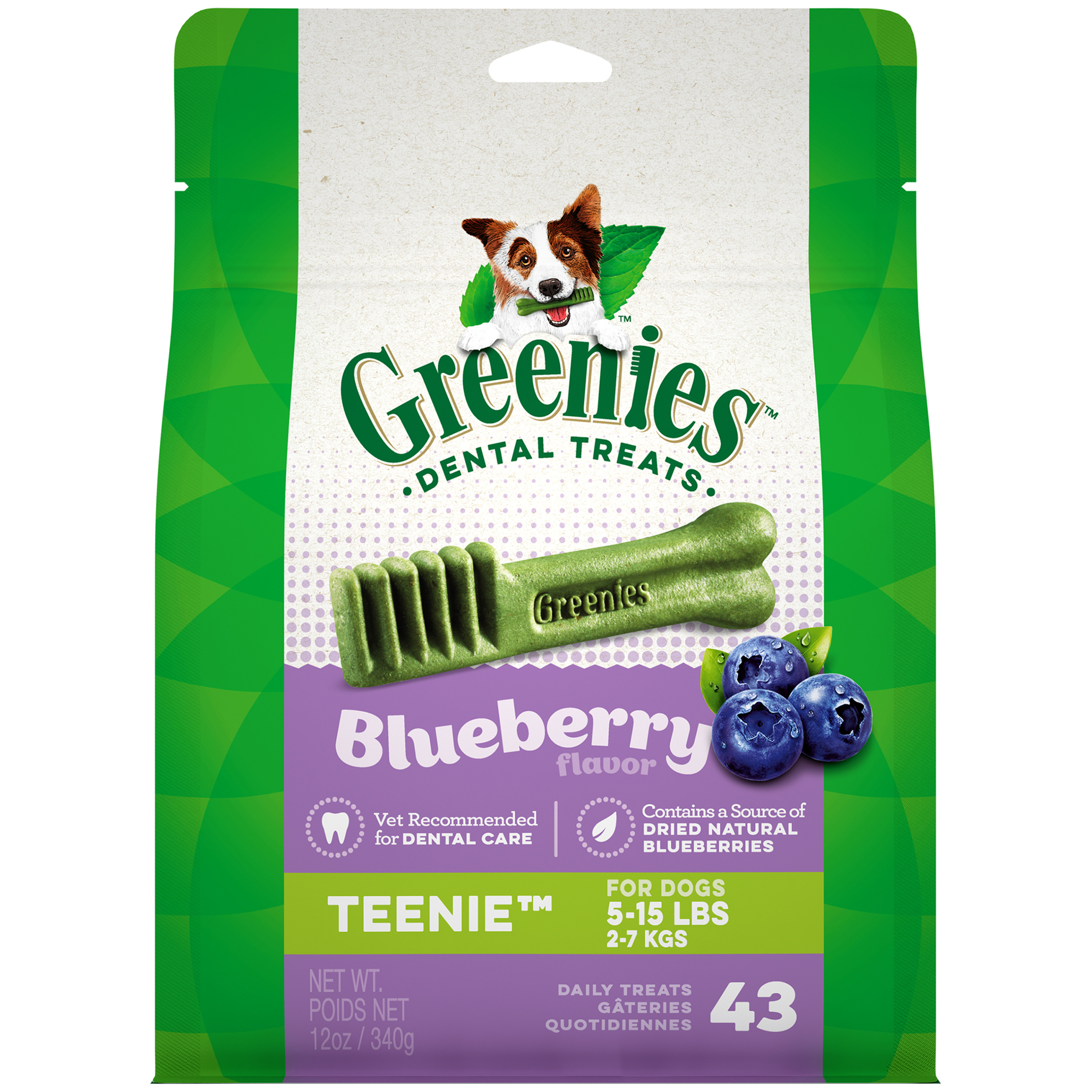GREENIES Blueberry Flavor TEENIE Dental Dog Treats, 12 oz. Pack (43 Treats)