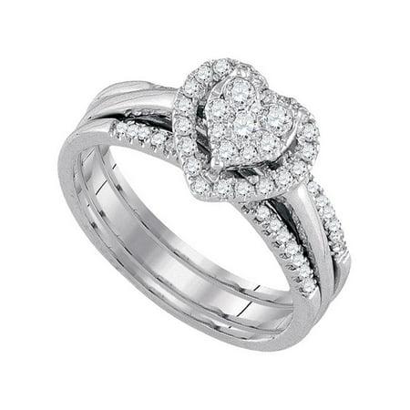 10kt White Gold Womens Round Diamond Heart Bridal Wedding Engagement Ring Band Set 1/2 Cttw - image 1 of 1
