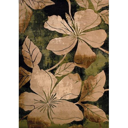 Green Floral Vine - Designer Home Angles Area Rugs - 510-28845 Contemporary Green Leaves Vines Stems Petals Rug 1' 10