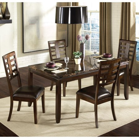 Standard Furniture Bella 5 Piece Dining Table Set with Faux Marble