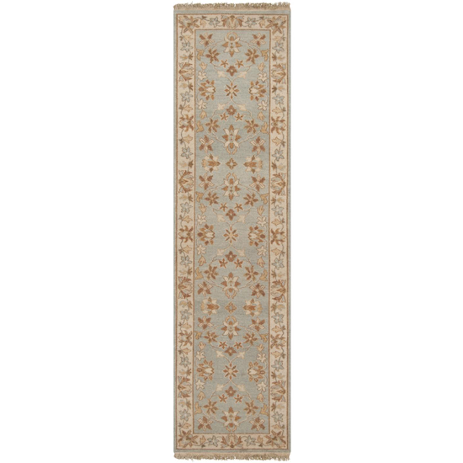 2.5' x 10' La Hacienda Fringed Khaki, Gray Sage and Bronze Wool Area Runner Rug