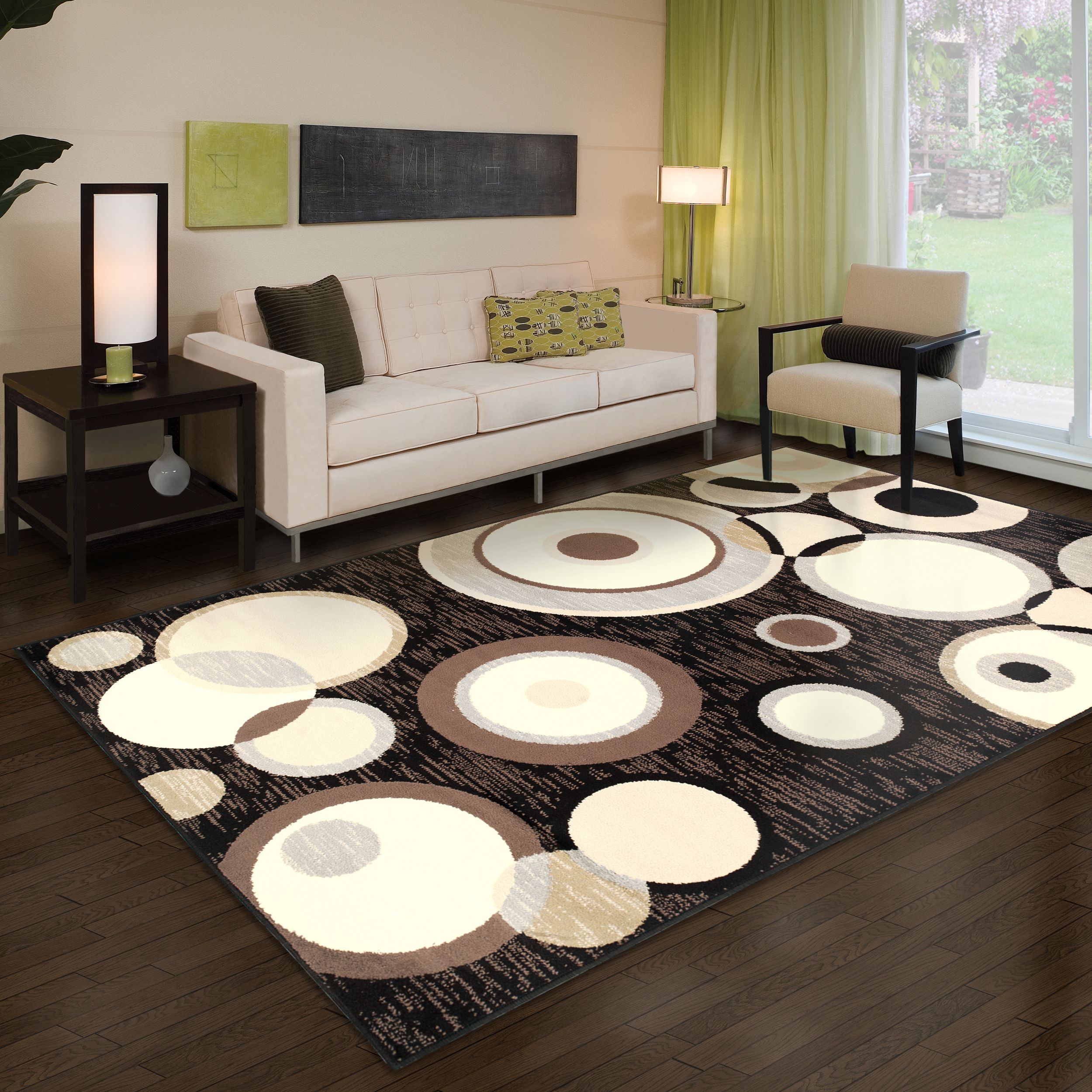 Superior Modern Ringoes Collection with 8mm Pile and Jute Backing, Moisture Resistant and Anti-Static Indoor Area Rug