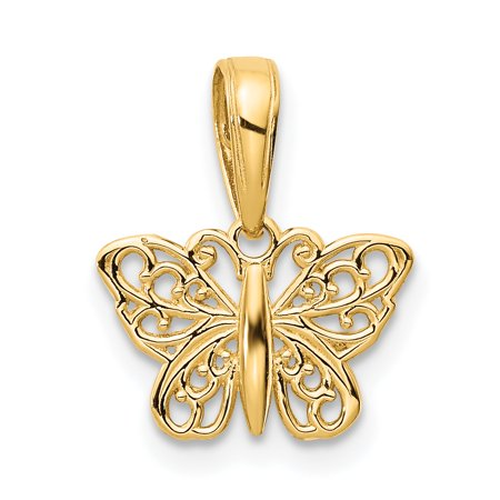 14kt Yellow Gold Filigree Butterfly Pendant Charm Necklace Animal Fine Jewelry Ideal Gifts For Women Gift Set From Heart
