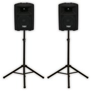 """Podium Pro PP807A Bluetooth 8"""" Active Speaker Pair and Stands MP3 800W PP807ASET1"""
