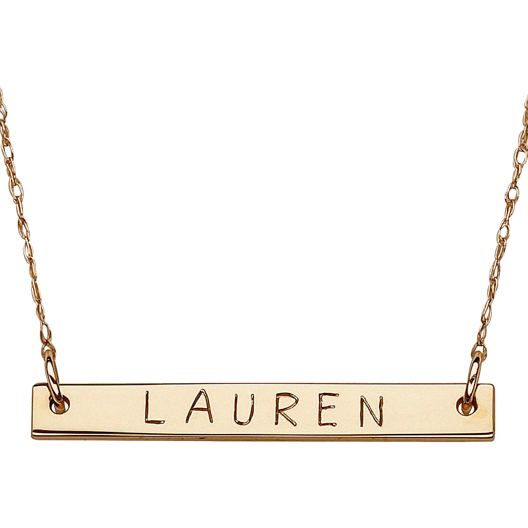Personalized 10kt Yellow Gold Mini Bar Name Necklace