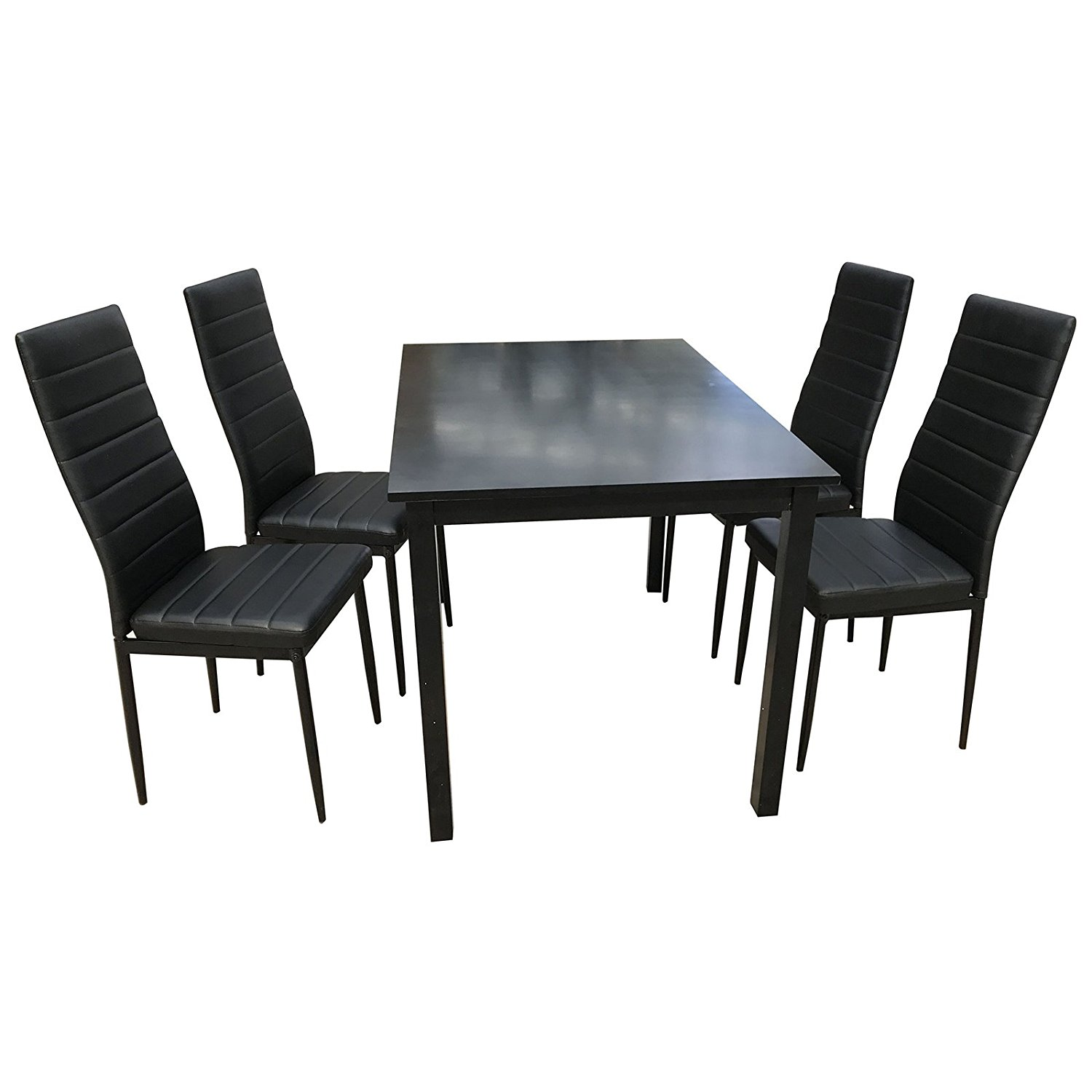 Uenjoy 5 Piece Wood Dining Table Set 4 PU Chairs Kitchen Room Breakfast Furniture Black