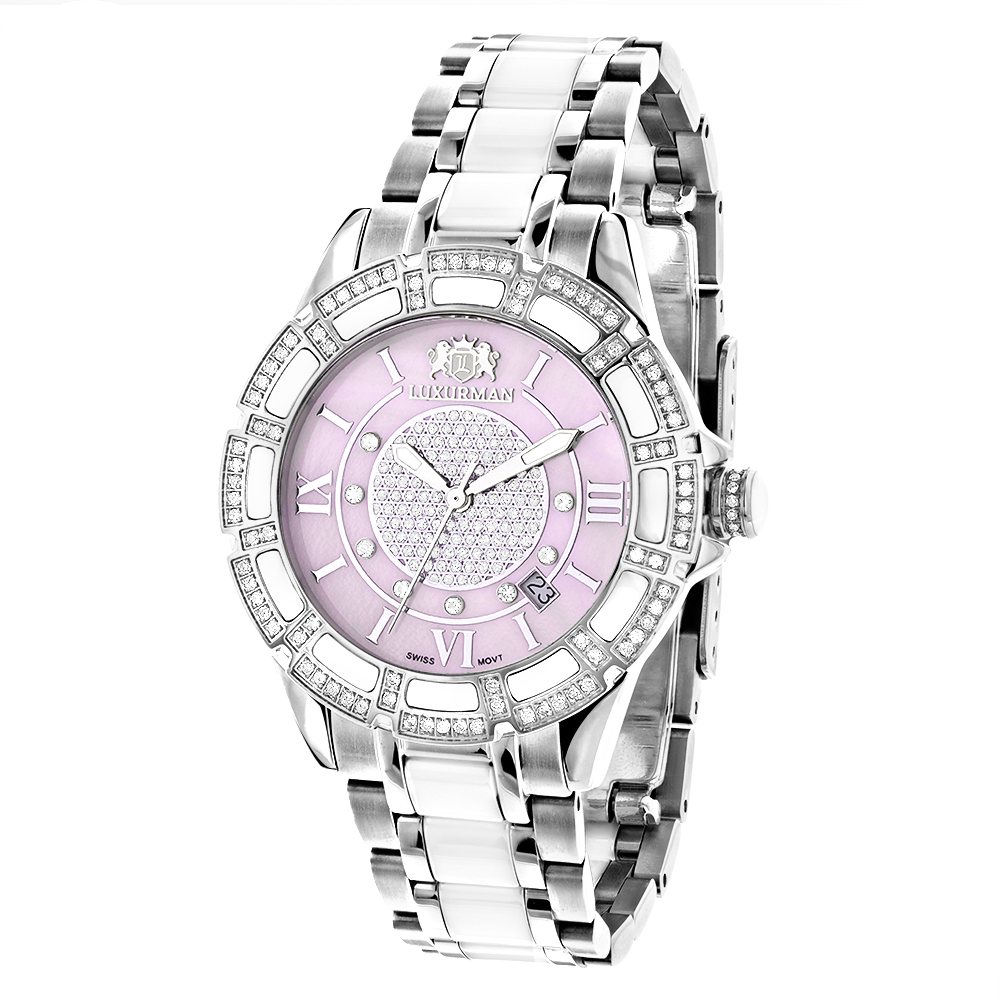 Womens White Ceramic  Diamond Watch 1.25ct Pink MOP LUXUR...