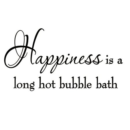 Bridal Shower Sayings (Happiness is a Long Hot Bubble Bath Wall Decal Bathroom Quotes Shower Stickers Sayings Tub)
