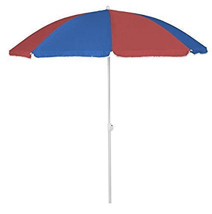 Beach Umbrella 6ft Polyester (Light Blue, Red) (1 Count) (1 pkg) Pkg 1 by Party Magic USA