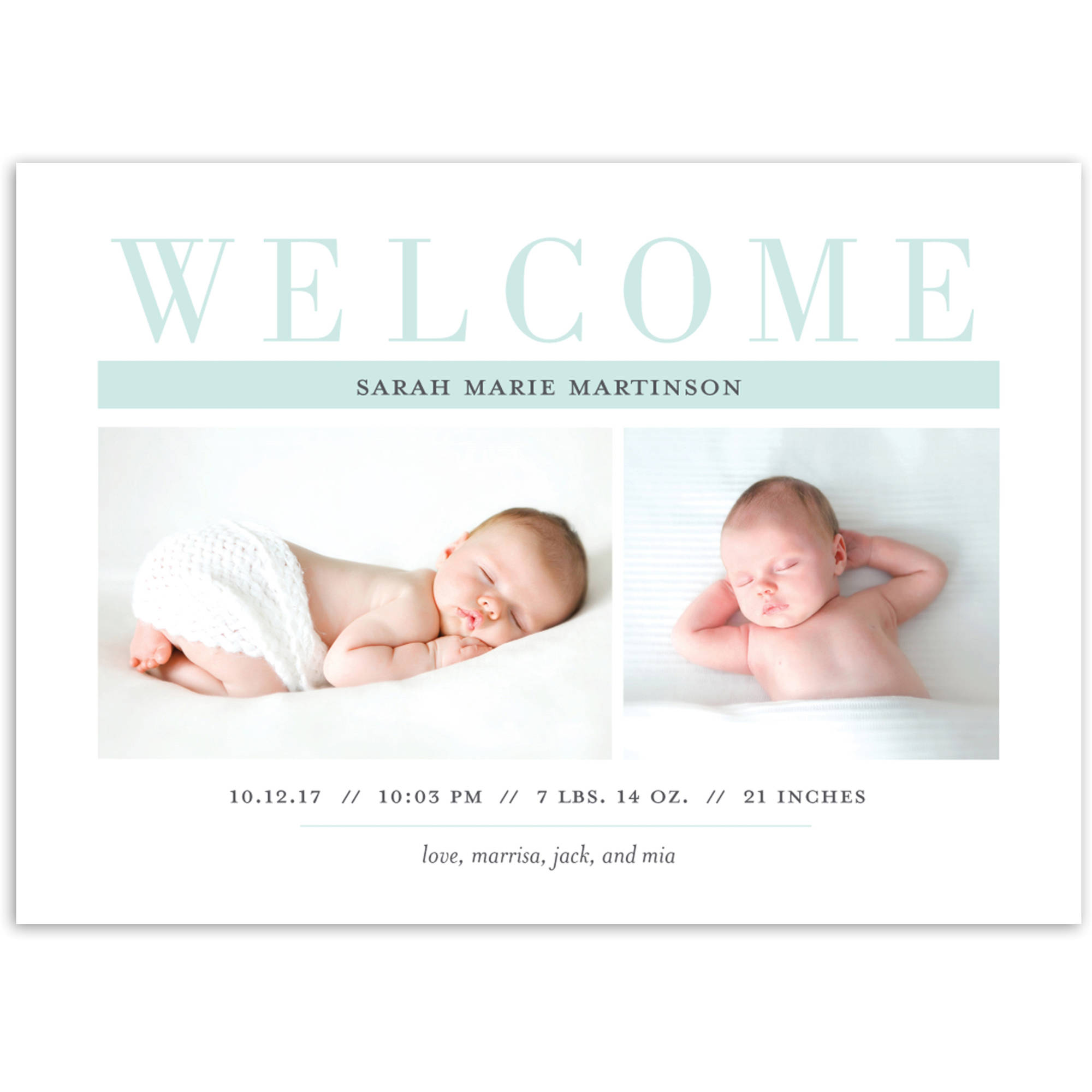 Plaid Welcome Baby Announcement