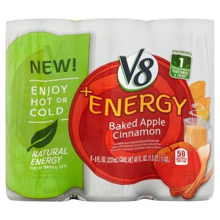 V8  Energy Baked Apple Cinnamon Juice 8Oz 6 Pack