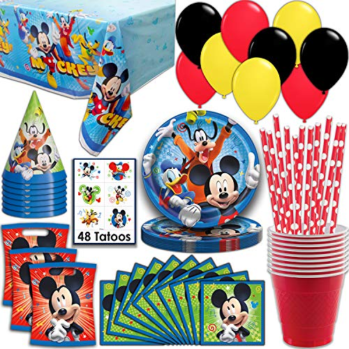 Mickey Mouse Party Supplies, Serves 16 - Plates, Napkins, Tablecloth, Cups, Straws, Balloons, Loot Bags, Tattoos, Birthday Hats - Full Tableware, Decorations, Favors for - Mickey Mouse For Birthday Party