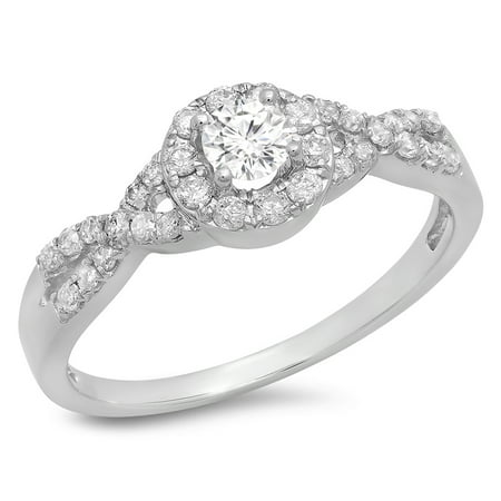 Dazzlingrock Collection 0.50 Carat (ctw) 14K Round Diamond Engagement Halo Swirl Bridal Ring 1/2 CT, White Gold, Size 8
