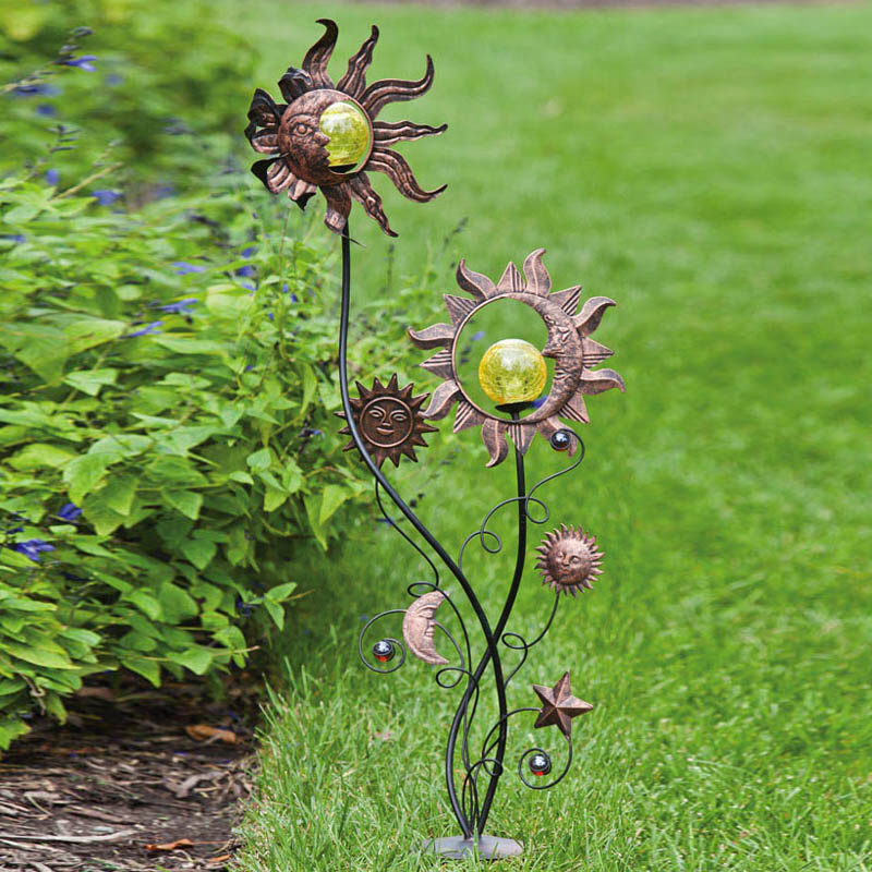 Stakes With Solar Ball Detail, Sun And Moon Garden Stake, Metal And Glass,