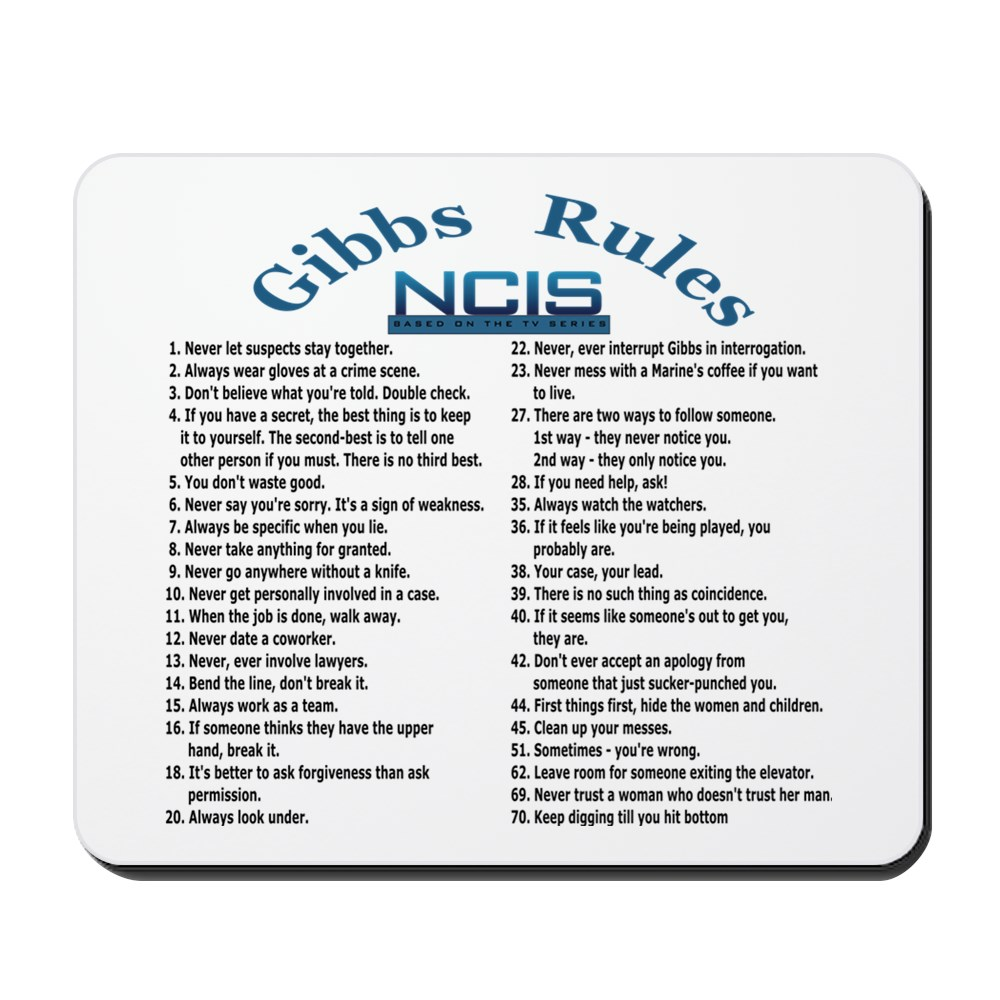 CafePress - NCIS Gibbs Rules - Non-slip Rubber Mousepad, Gaming Mouse Pad