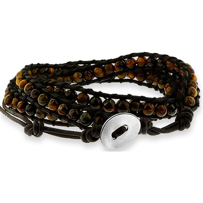 Doma Jewellery MAS03173 Triple Wrap Bracelet with Agate Beads -  Leather Cord and Stainless Steel Clasp
