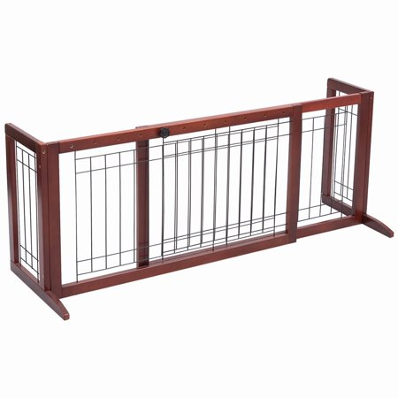 - Gymax Solid Wood Dog Gate Pet Fence Playpen Safety Adjustable Panel Free Stand Indoor