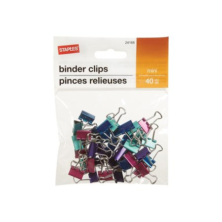 Staples Binder Clip Mini 40 PK - Metallic 922717 ()