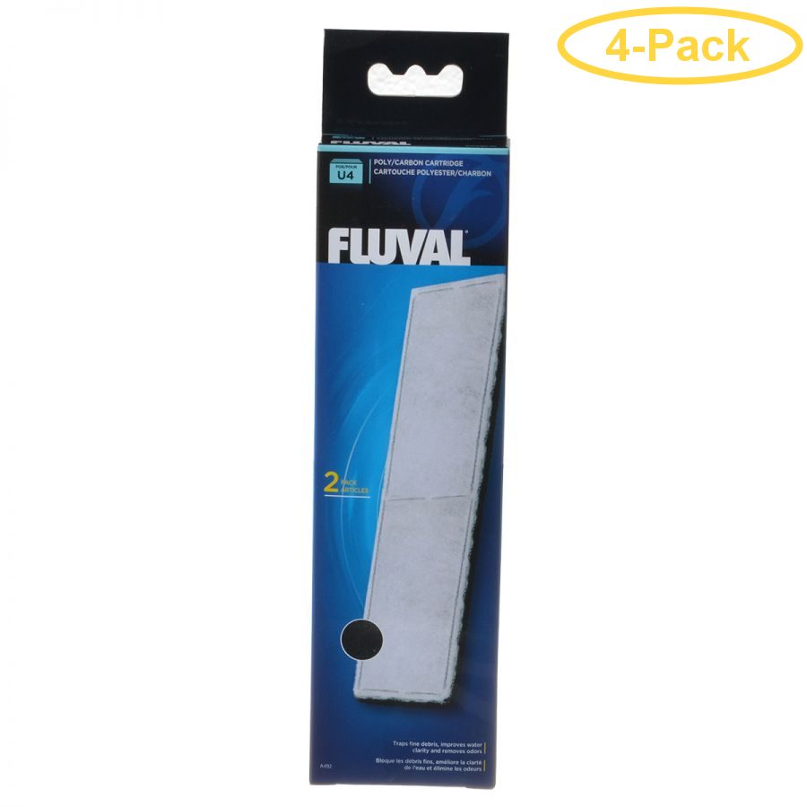 Fluval Underwater Filter Stage 2 Polyester/Carbon Cartridges U4 Filter Cartridge (2 Pack) - Pack of 4