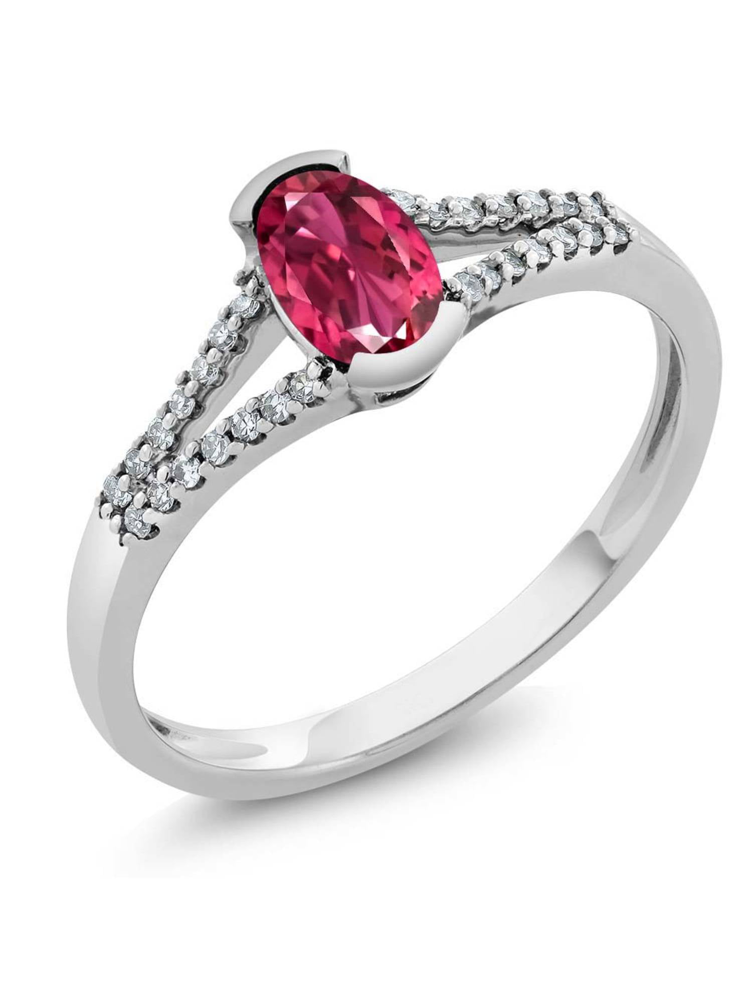 10K White Gold Women's Oval Pink Tourmaline Diamond Ring by