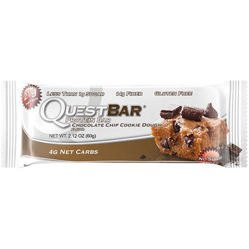 QuestBar Chocolate Chip Cookie Dough Flavor Protein Bar, 2.12 oz