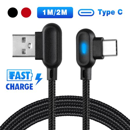 EEEKit USB C Type C Cable with LED Light, Right Angle Type C Fast Charger Cable Data Sync Cord for Galaxy S10/S10+, S9/S9+, Pixel XL 2 and More Type C Devices