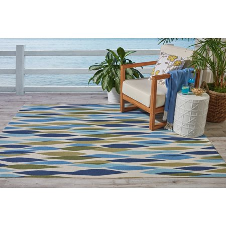 - Waverly Sun N Shade Abstract Seaglass Area Rug