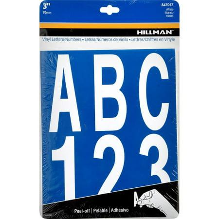 3-Inch Letters & Numbers Kit, White, Die Cut Mylar, Self-Adhesive (847017) - Three (3) Packs (Kits)