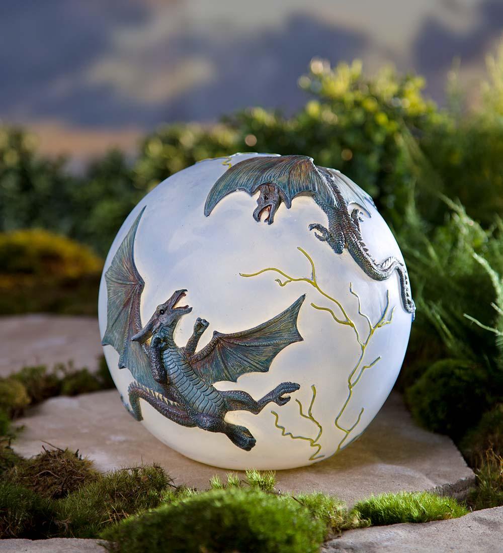 Gazing Balls Lighted Resin Dragon Globe by Problem Solvers