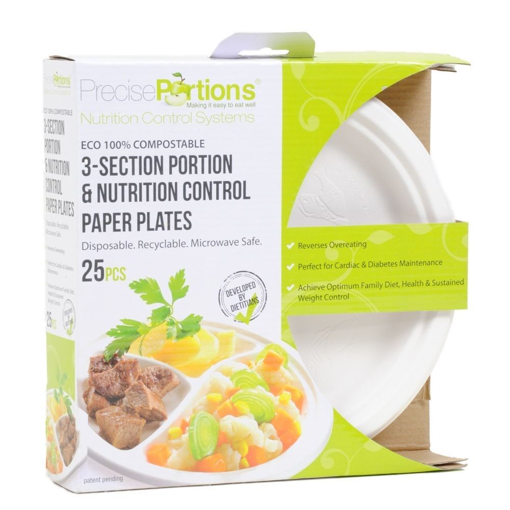 Precise Portions Divided Disposable Plates, Developed for Portion Control