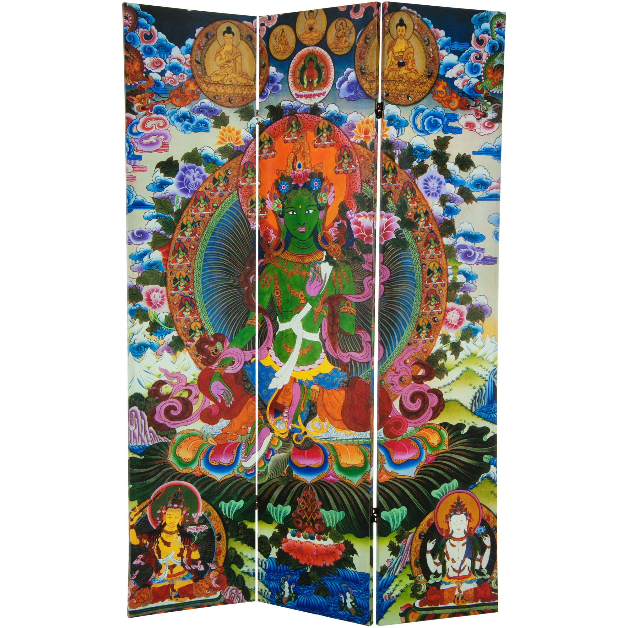 6' Tall Green Tara Tibetan Double Sided Canvas Room Divider
