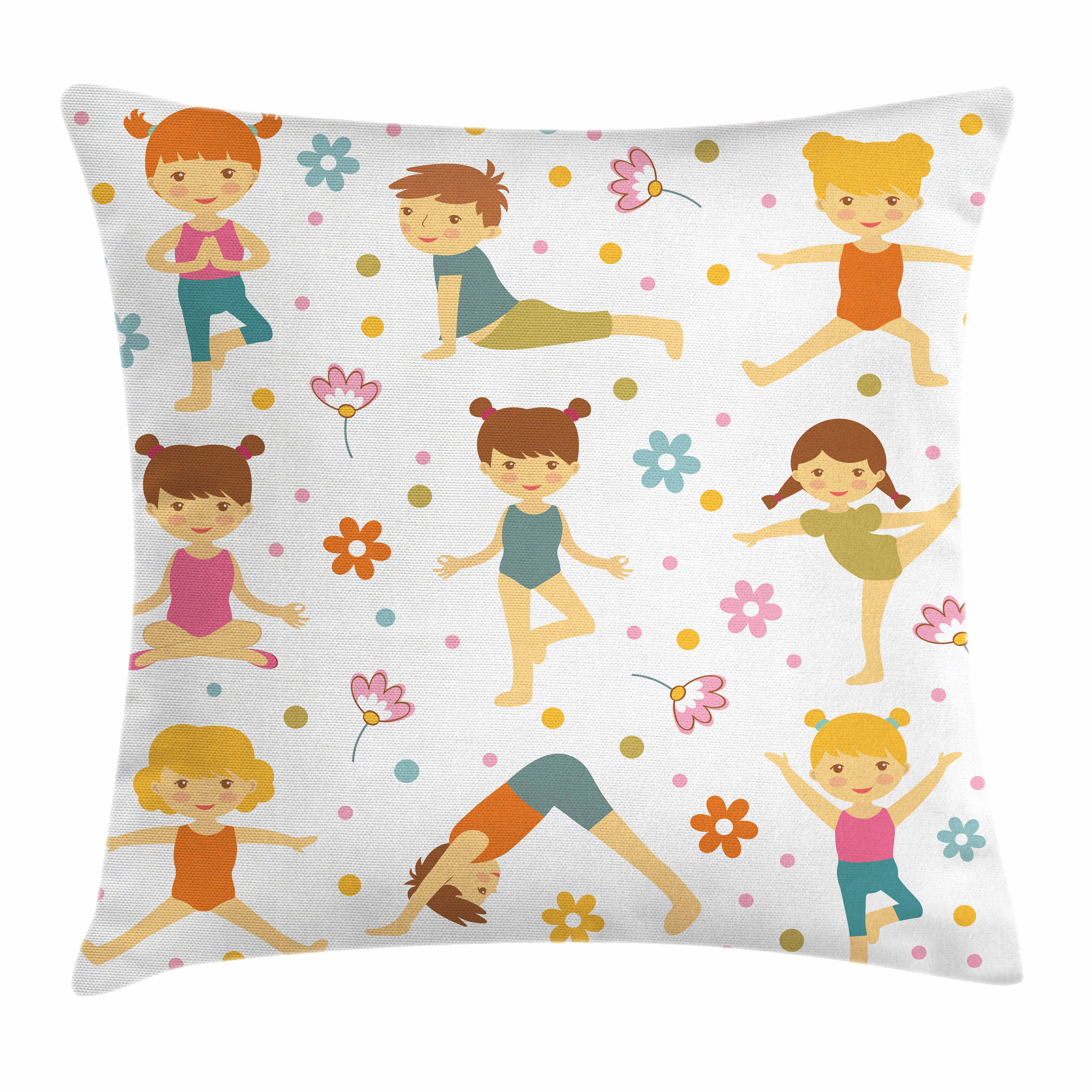 Yoga Throw Pillow Cushion Cover, Cartoon Style Exercising Kids with Colorful Daisies Healthy Active Children Stretching, Decorative Square Accent Pillow Case, 16 X 16 Inches, Multicolor, by Ambesonne