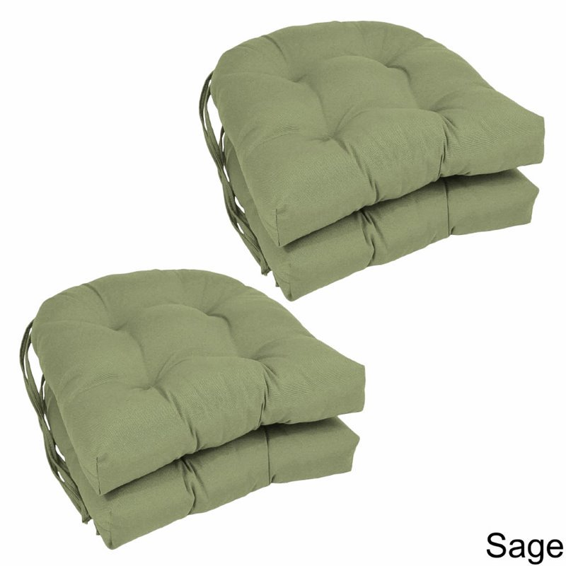 Blazing Needles U-Shape 16 x 16 in. Twill Dining Chair Cushions - Set of 4