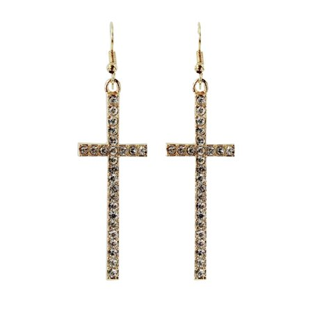 Crystal Rhinestone Cross Drop Earrings